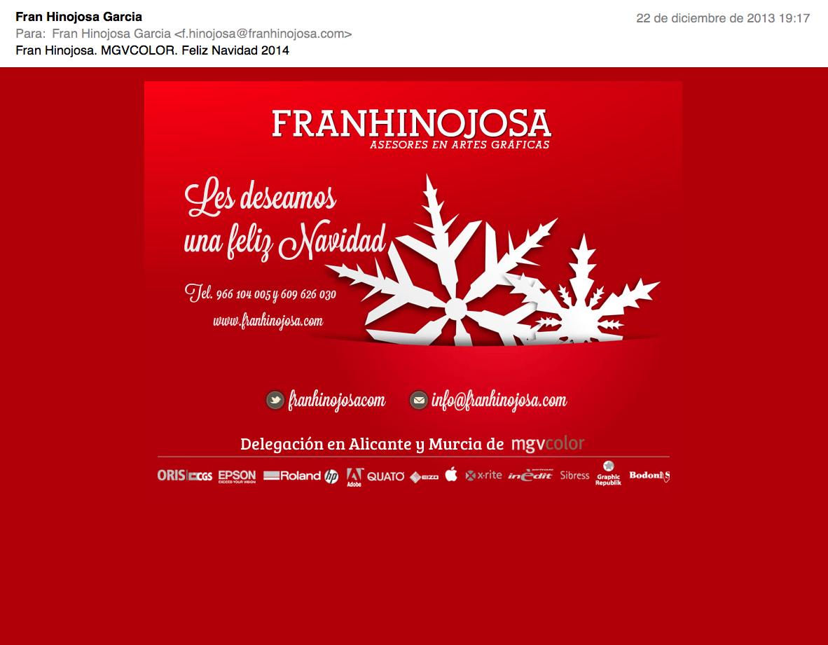 Felicitación email Fran Hinojosa