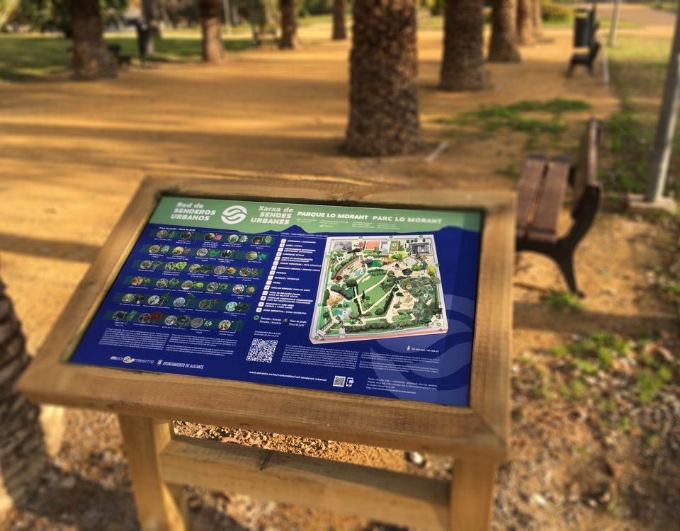 Mesas de interpretación de la flora del parque Lo Morant