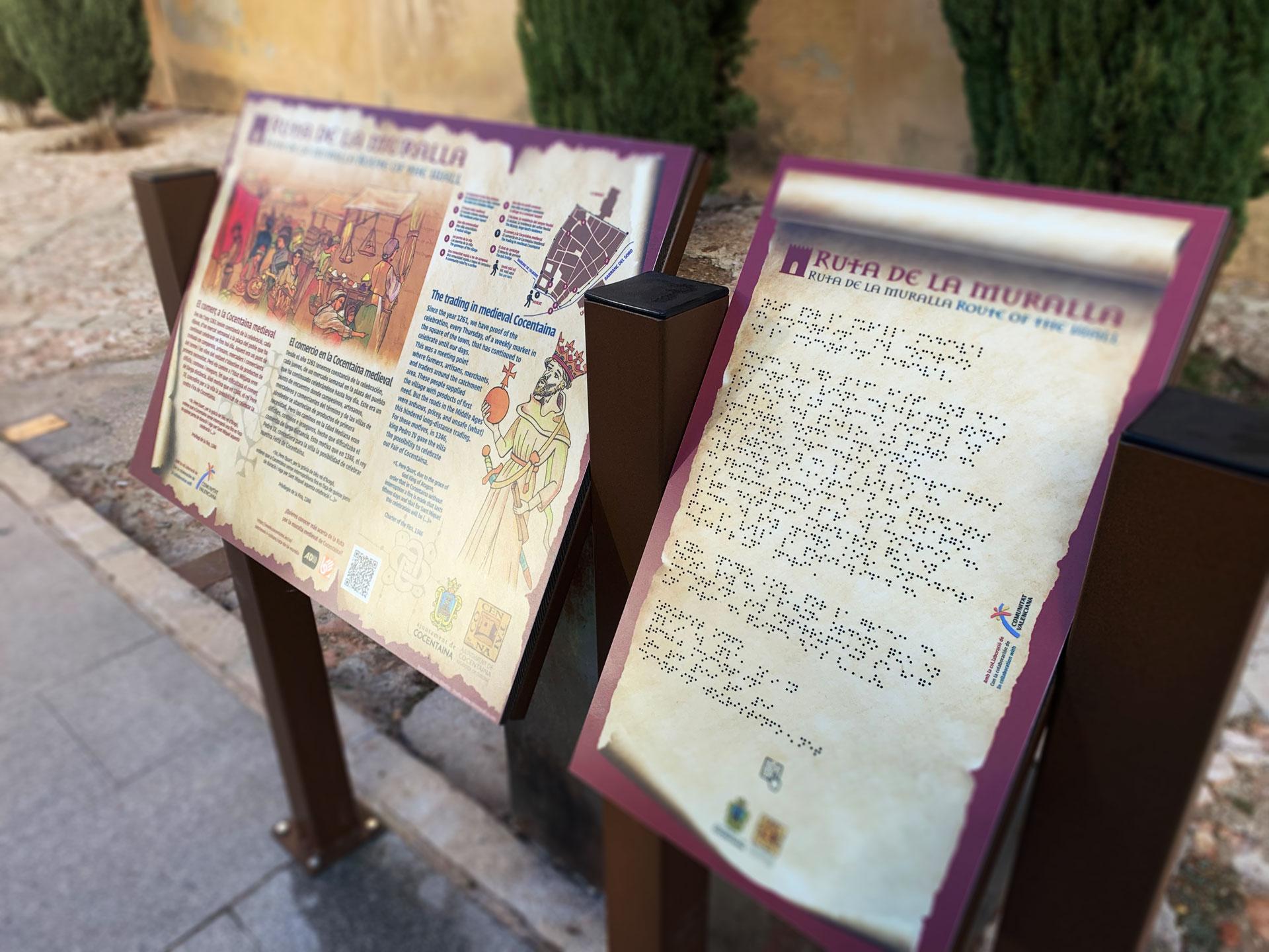 Mesas de la ruta de la Muralla en Cocentaina