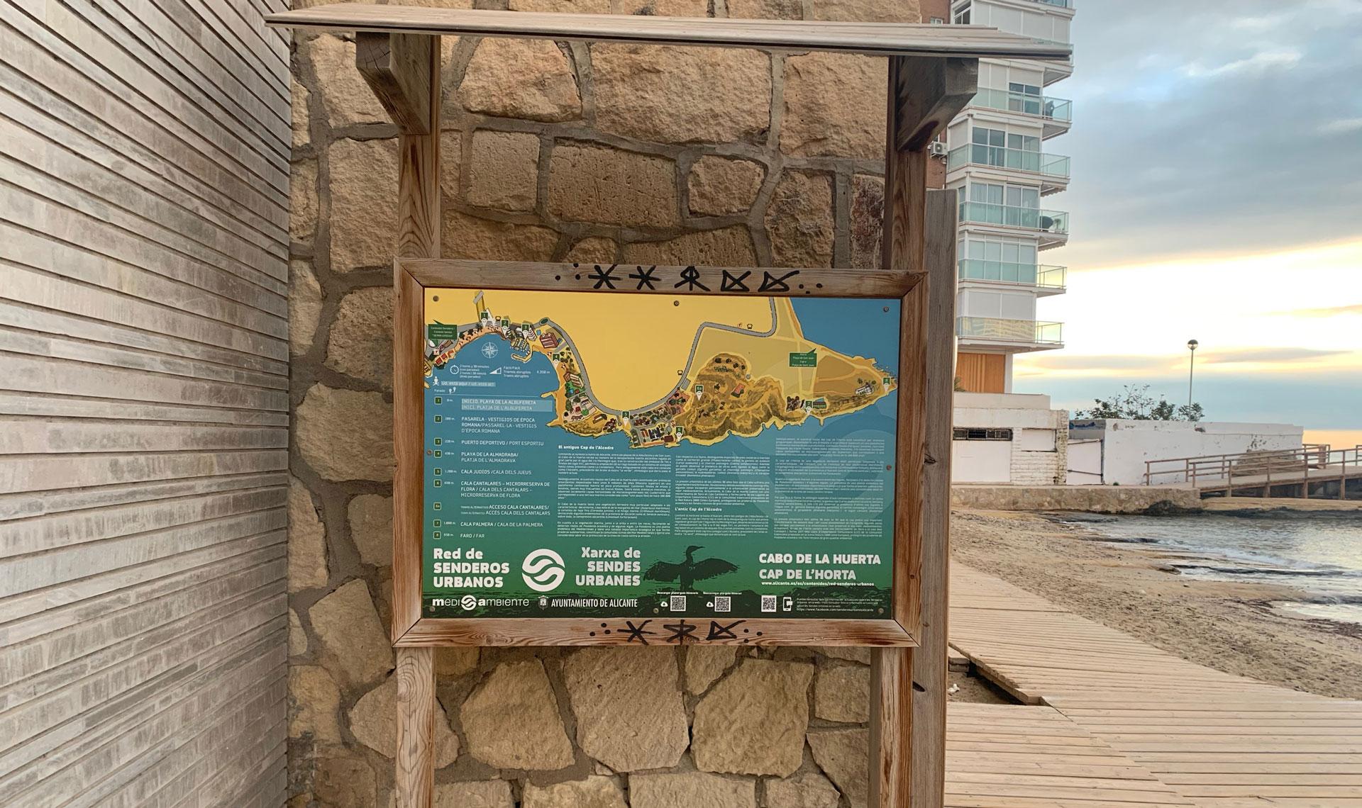 Panel en la Albufereta - Senderos Urbanos de Alicante